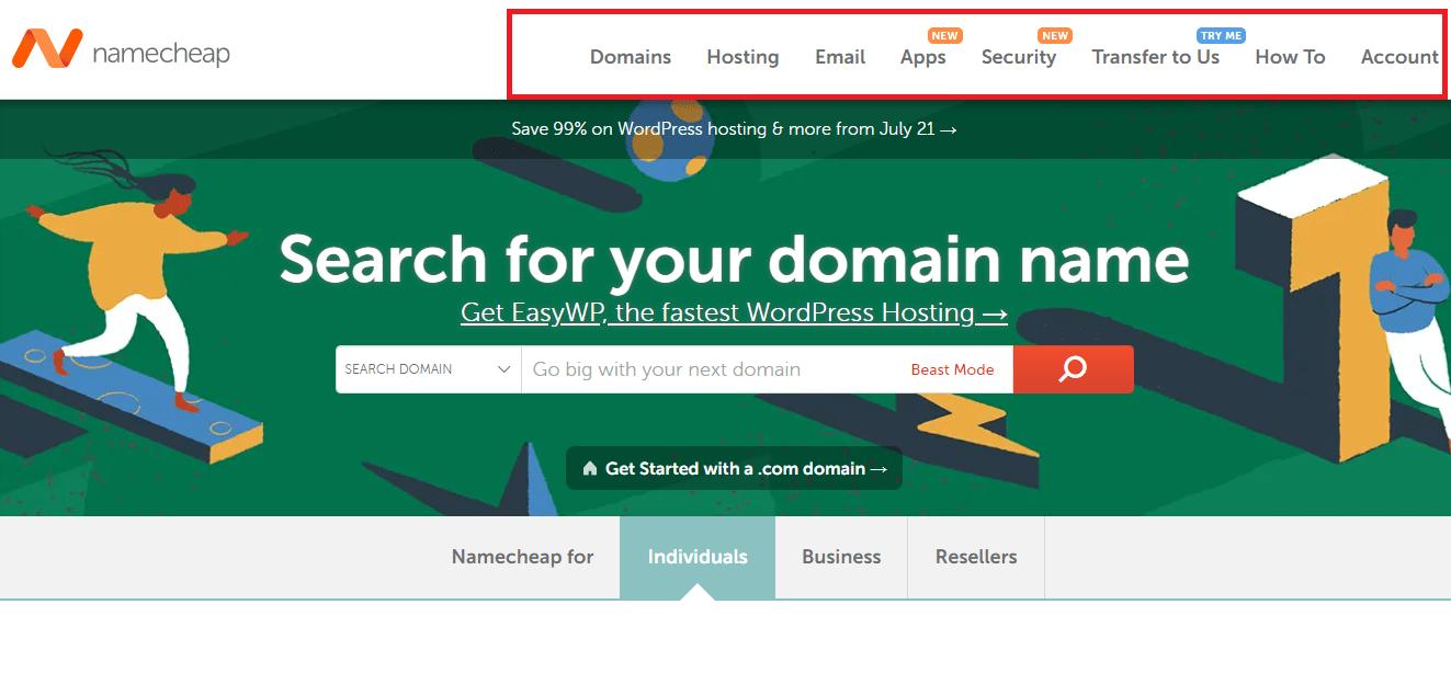 Namecheap different services
