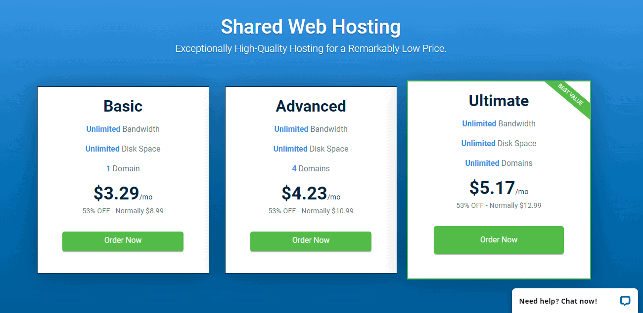 Shared hosting plans Hostwinds