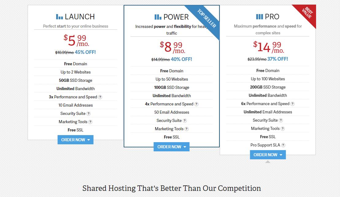 InMotion shared hosting plans