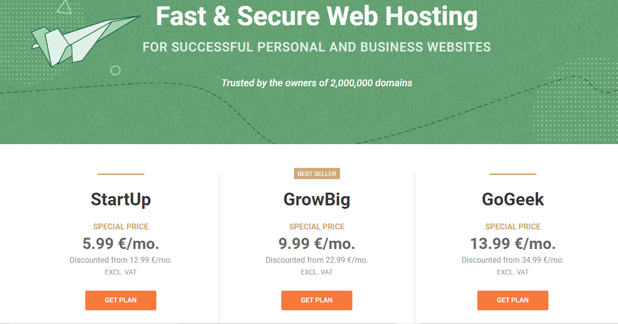 Siteground shared hosting plan