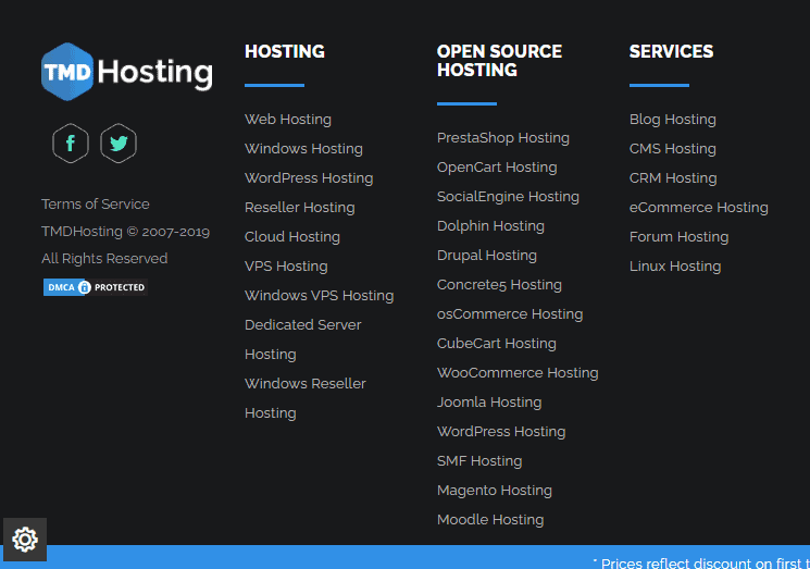 TMDHosting types of hosting services