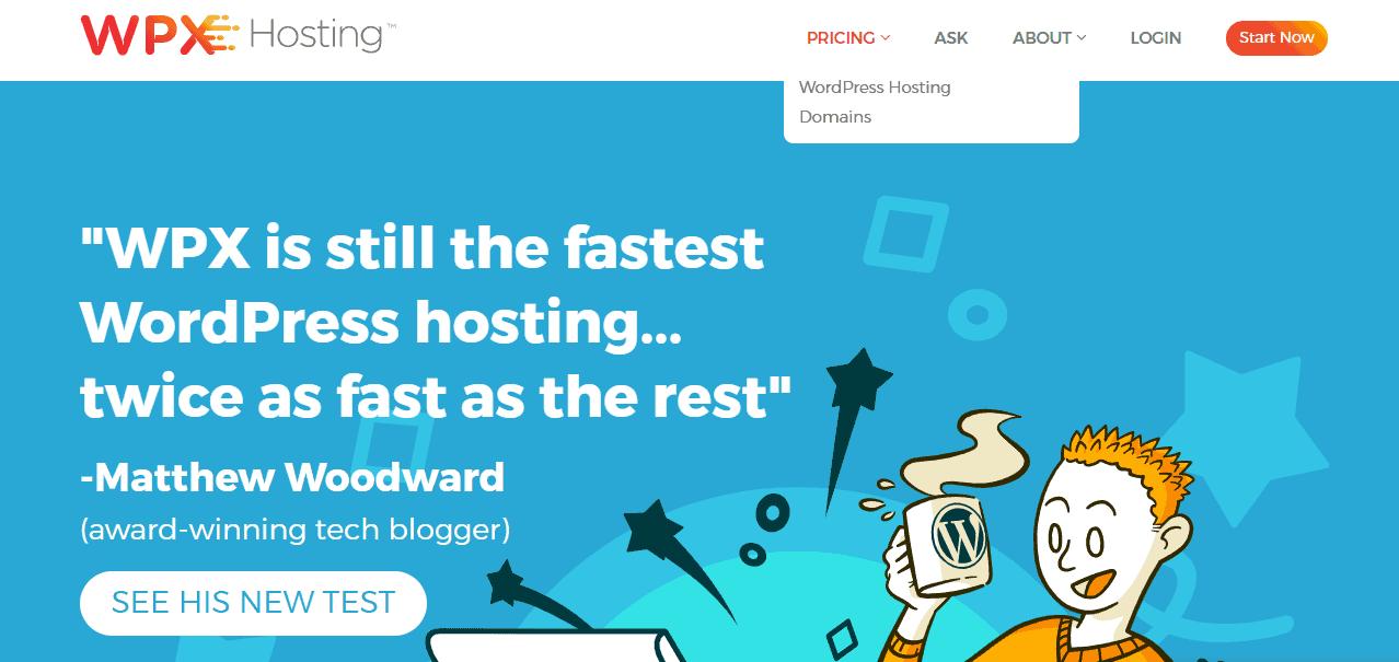 WPX hosting homepage