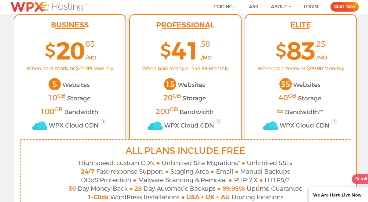 WPX three hosting plans compared