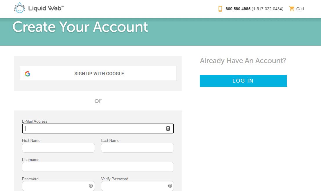 Create account liquid web