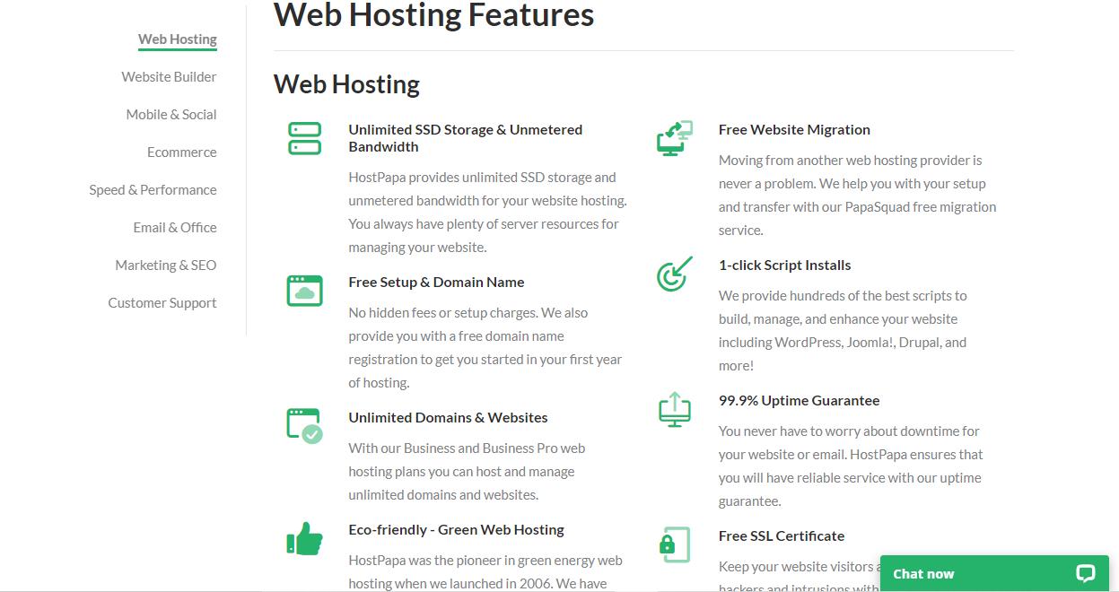 HostPapa hosting features