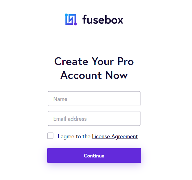 Fusebox create pro account