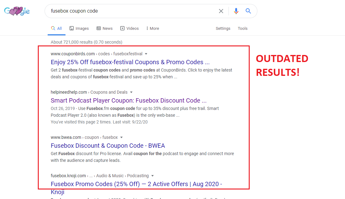 Fusebox coupon code queries SERPs are outdated
