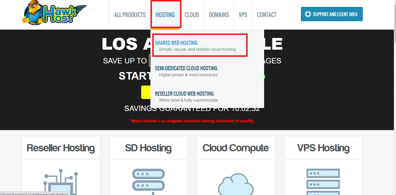 HawkHost pick shared hosting on homepage