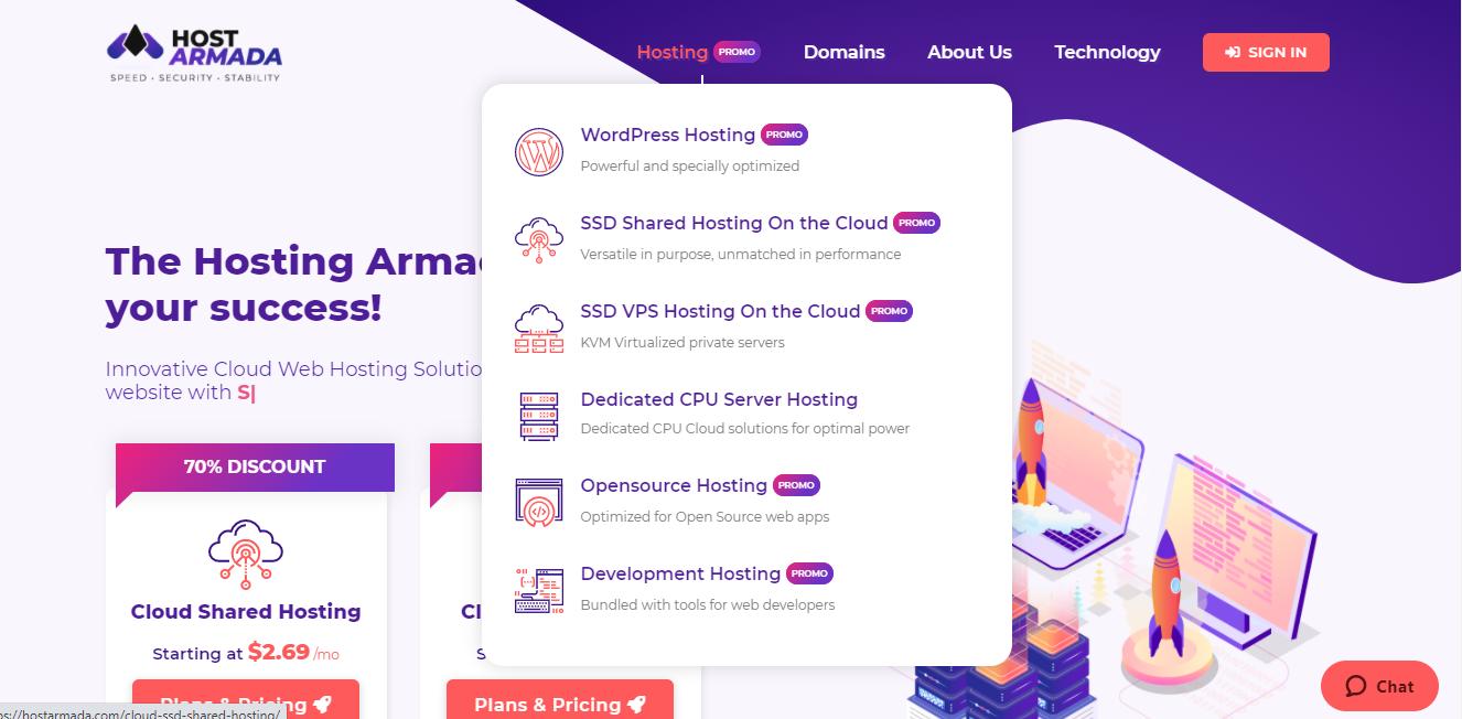 HostArmada types of hosting offered