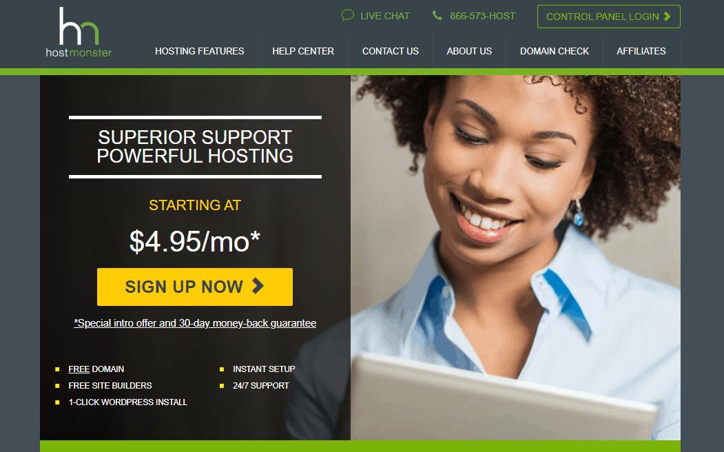 Hostmonster homepage