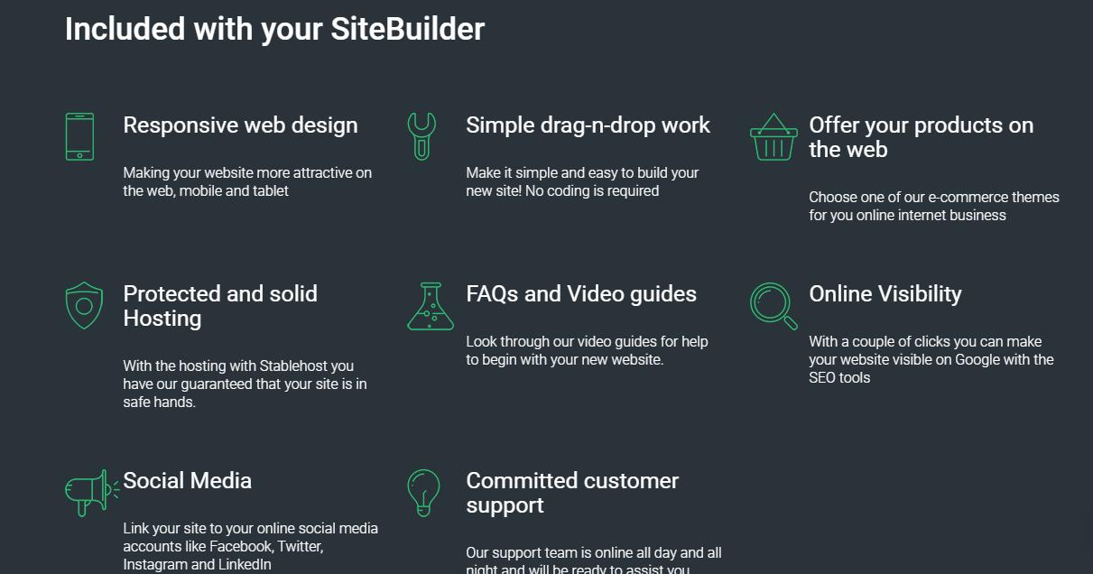 StableHost custom site builder