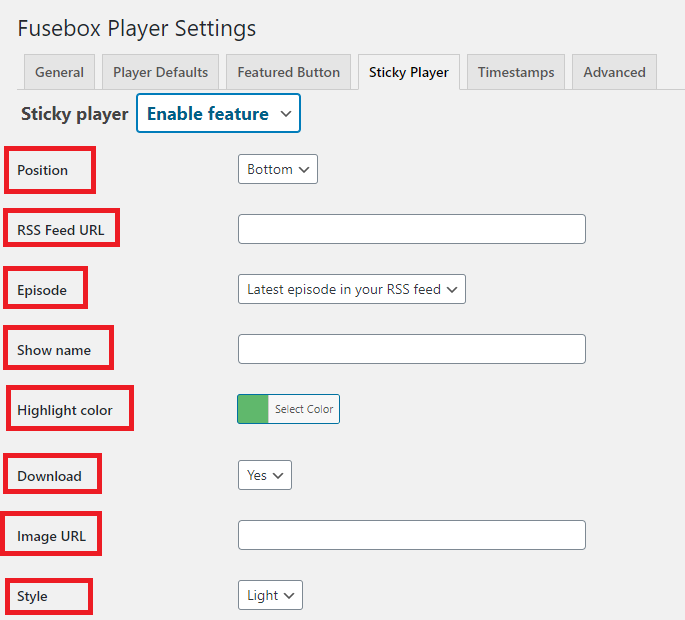 Sticky player settings