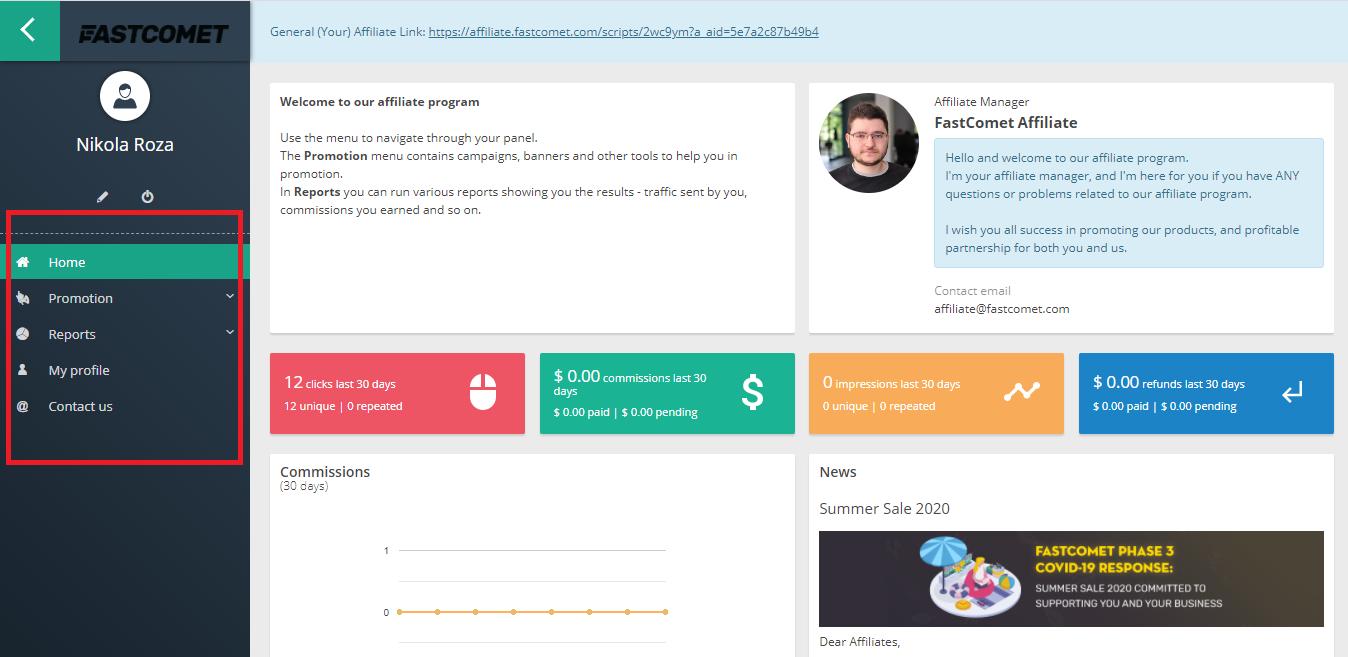 FastComet affiliate dashboard