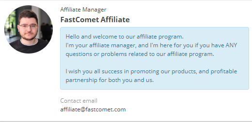 FastComet affiliate manager