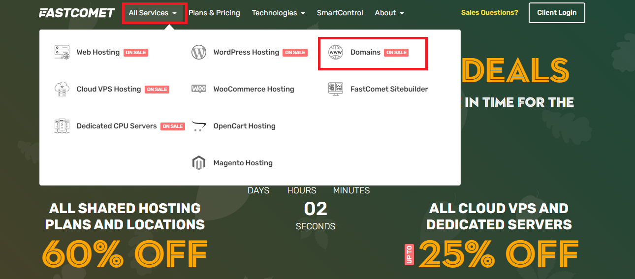 FastComet domain service access from homepage