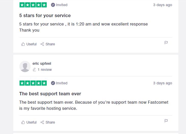 FastComet positive testimonial