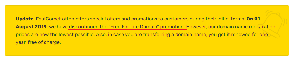 Free domain name service discontinued