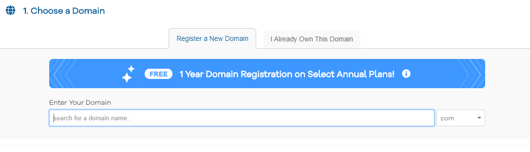 HostGator choose domain name
