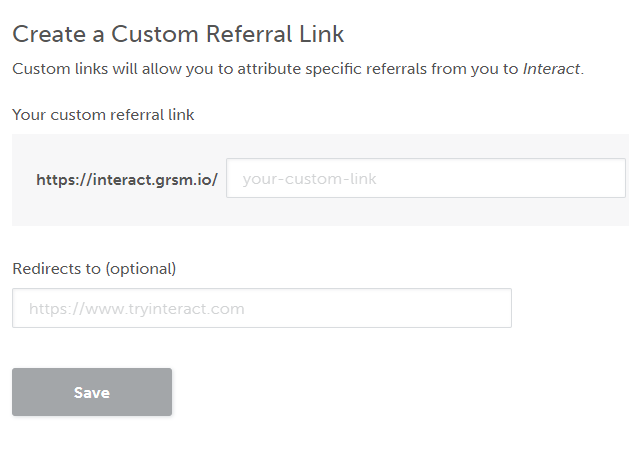Interact create a custom referral link