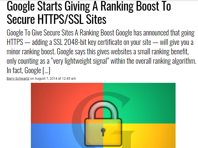 SSL gives you a ranking boost in Google