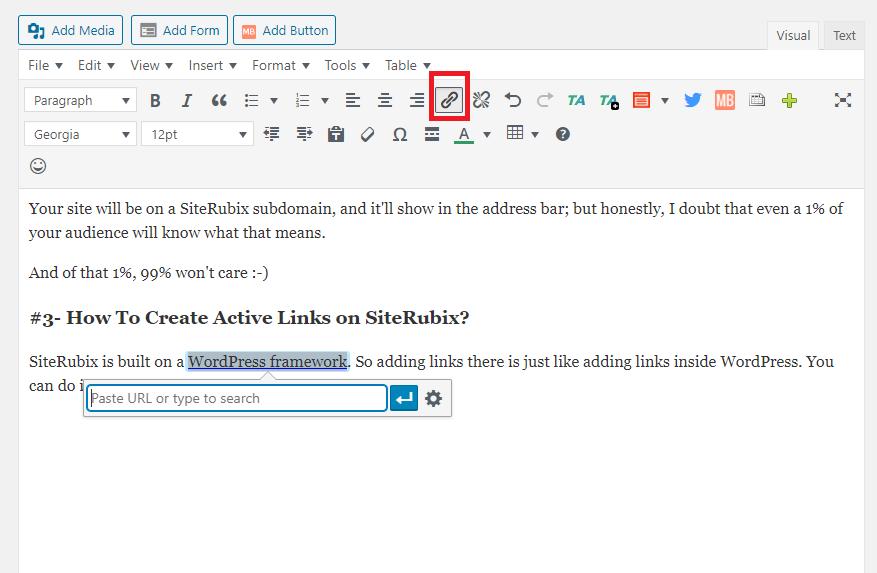 Add active links in Siterubix