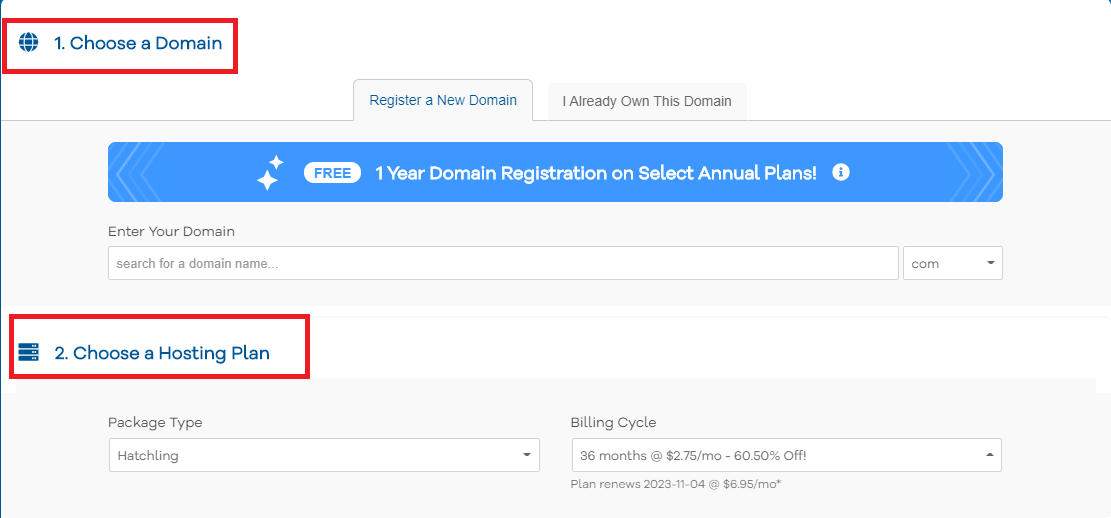 Pick HostGator plan hosting term