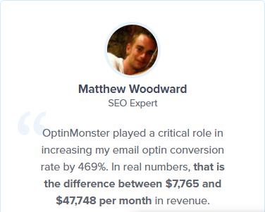 OptinMonster positive testimonial