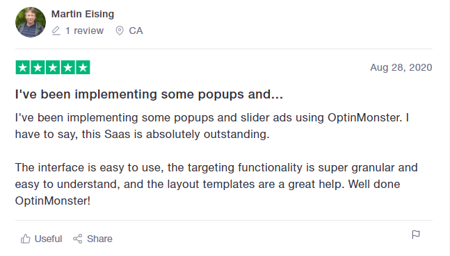 OptinMonster positive customer review example