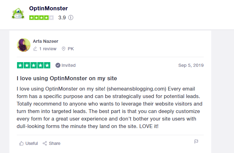 OptinMonster user review 1