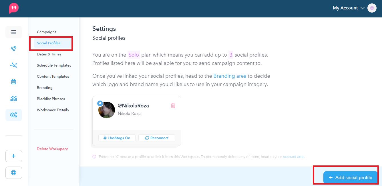 Connect social profiles
