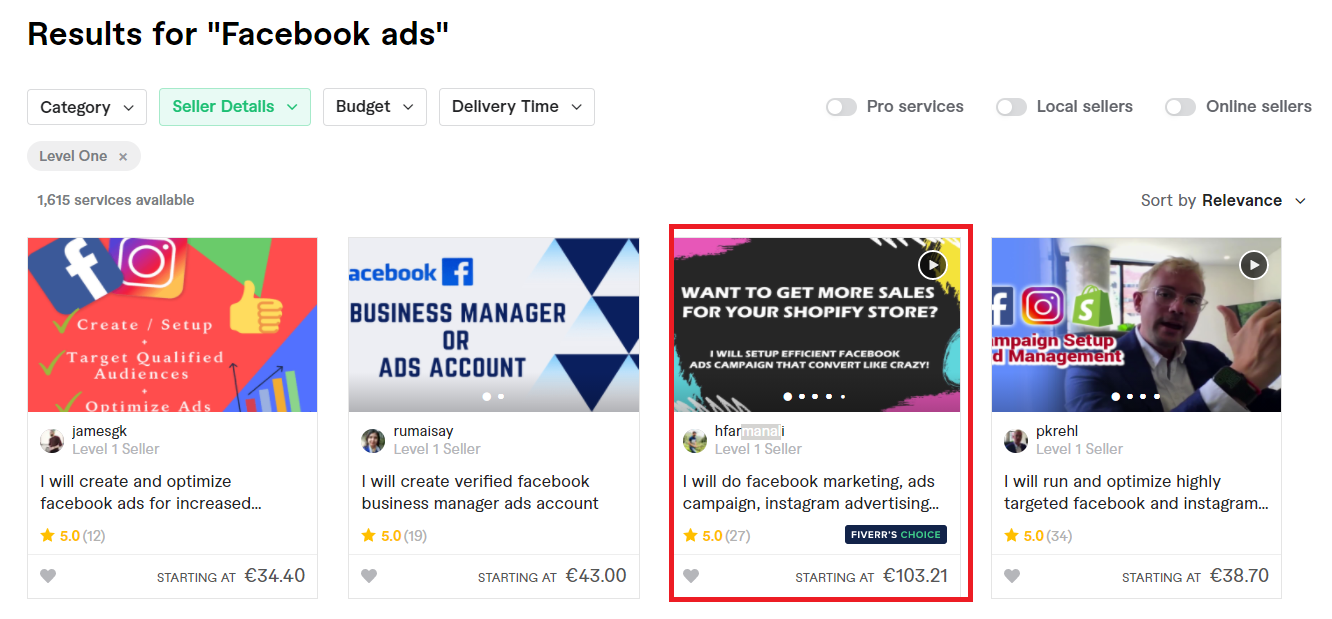 Facebook ads manager found on Fiverr