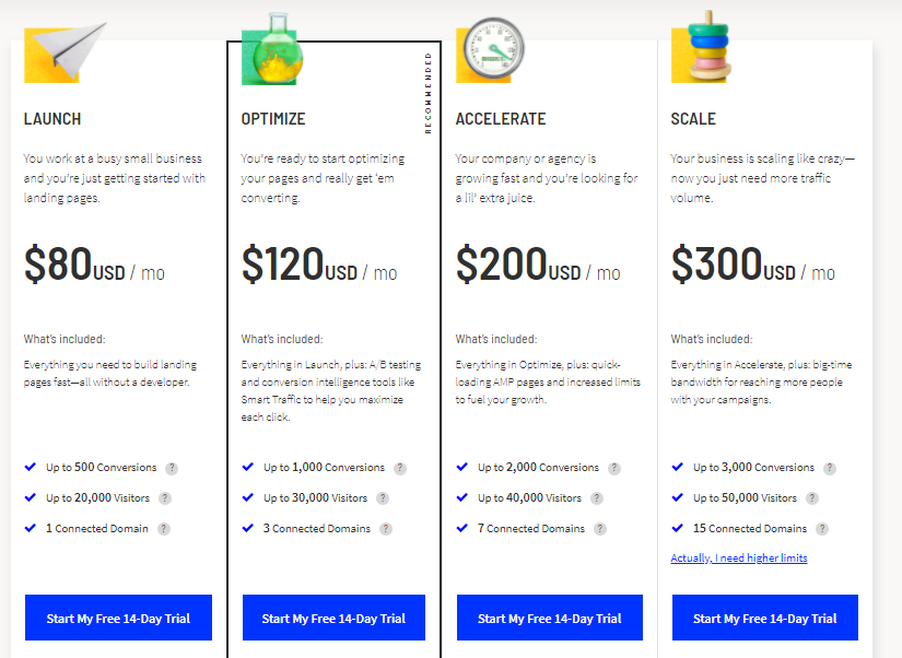 Unbounce pricing page