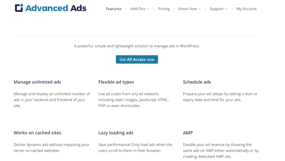 Advanced Ads features