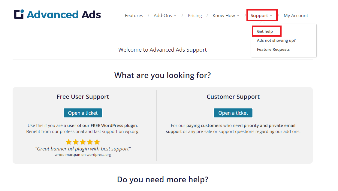 Advanced Ads premium help for paying customers