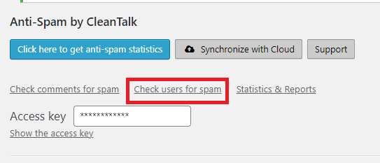 CleanTalk check existing users