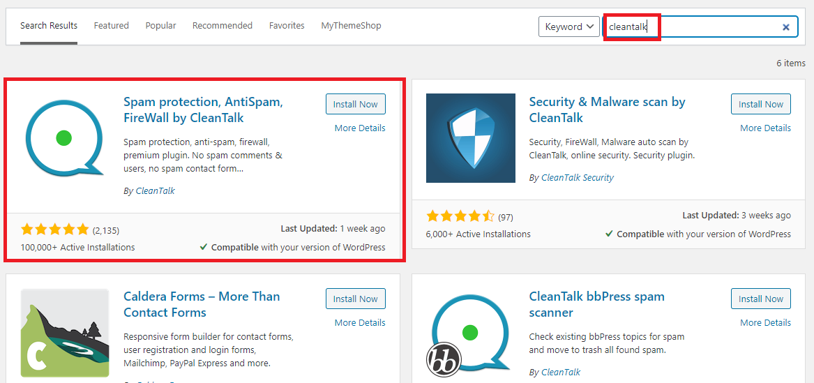 install and activate Cleantalk