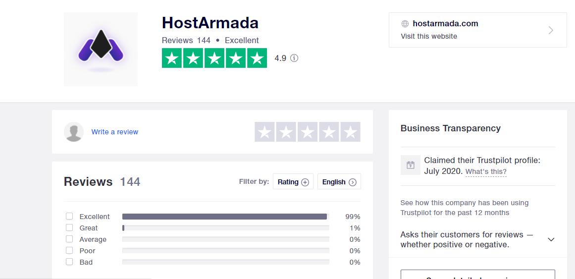 HostArmada high trustpilot scores