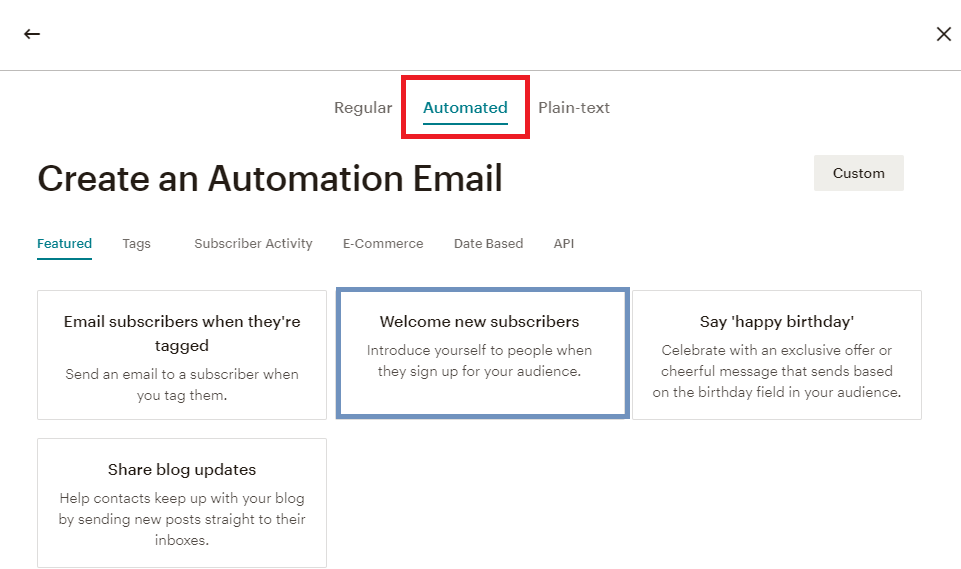MailChimp automated campaigns