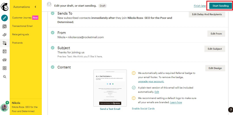 Send off campaign in MailChimp