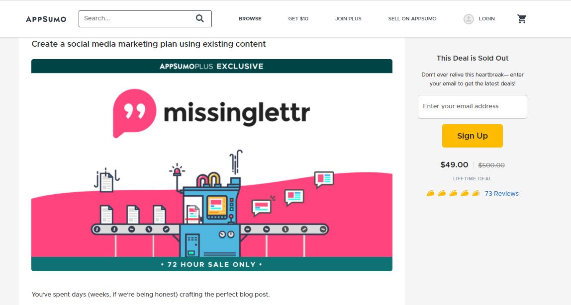 Missinglettr AppSumo lifetime deal