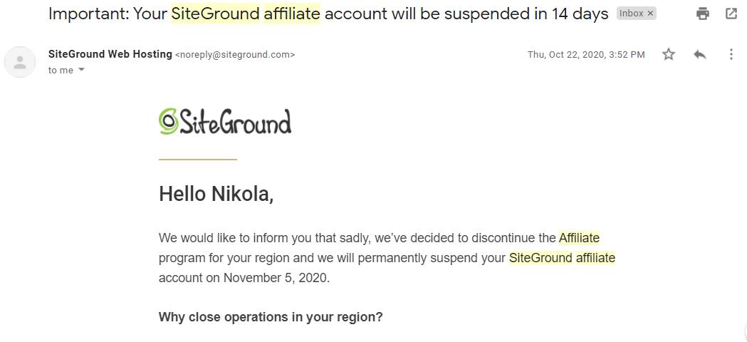 Canceled affiliate program