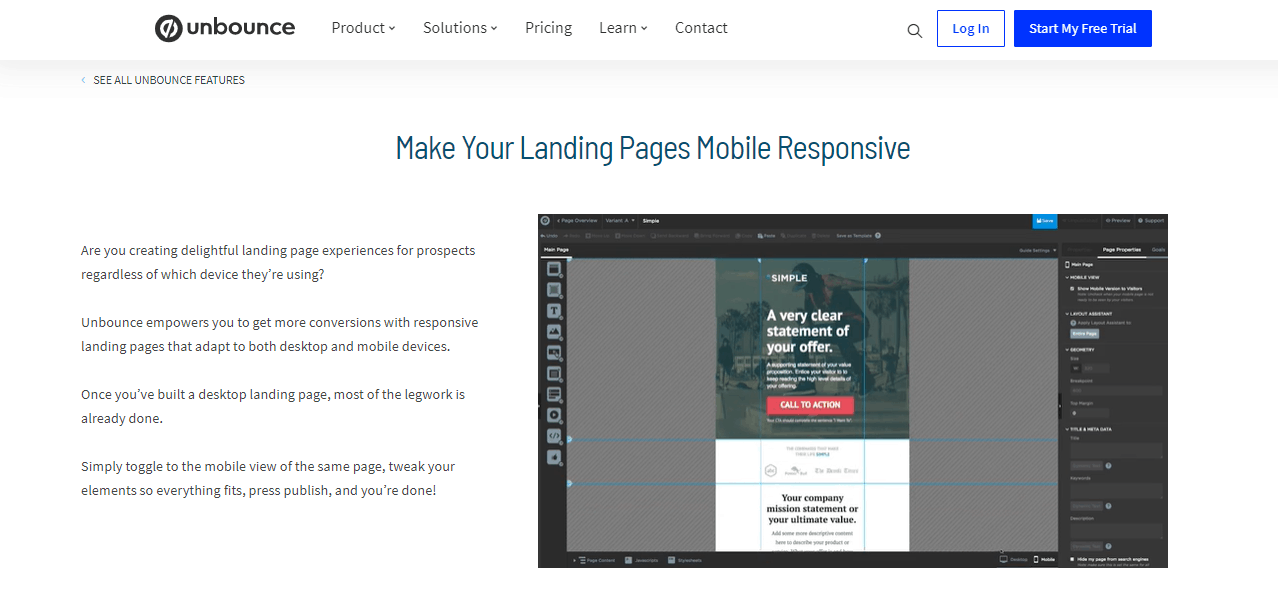 Unbounce mobile responsive landing pages