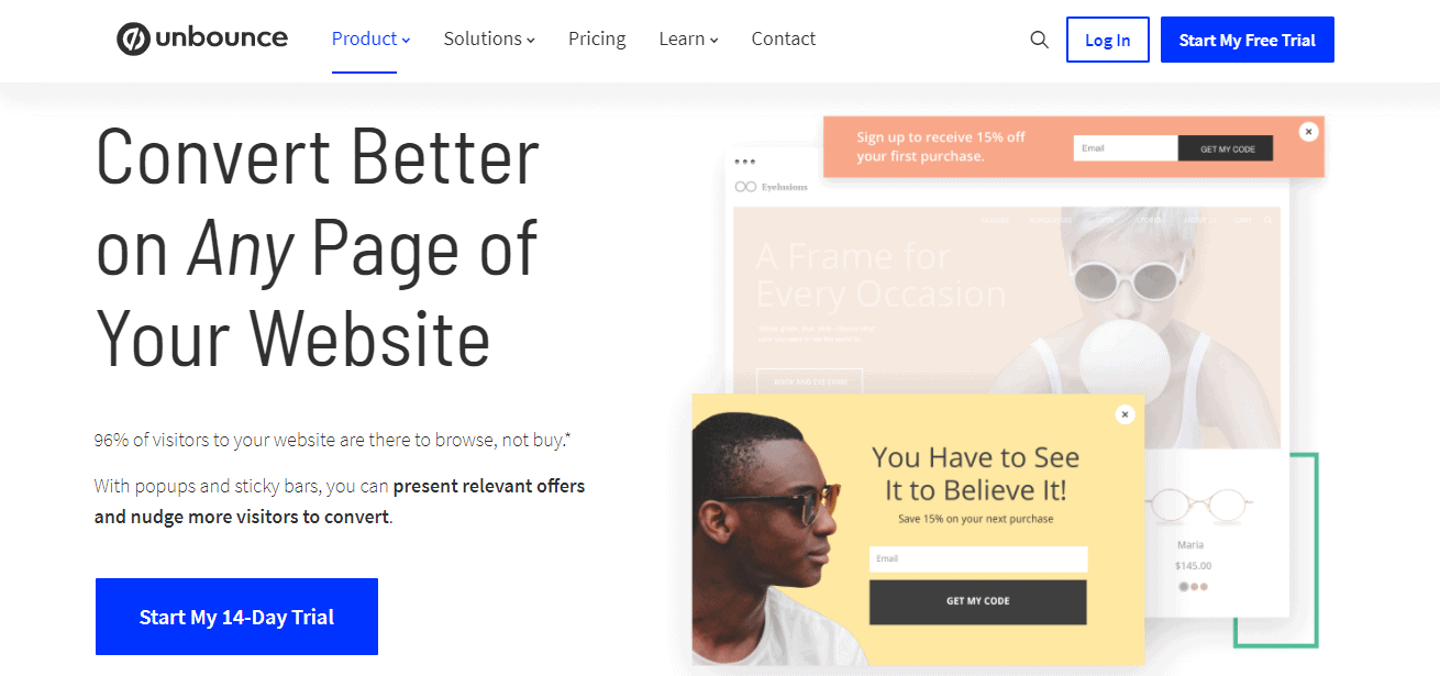 Unbounce popups and sticky bars