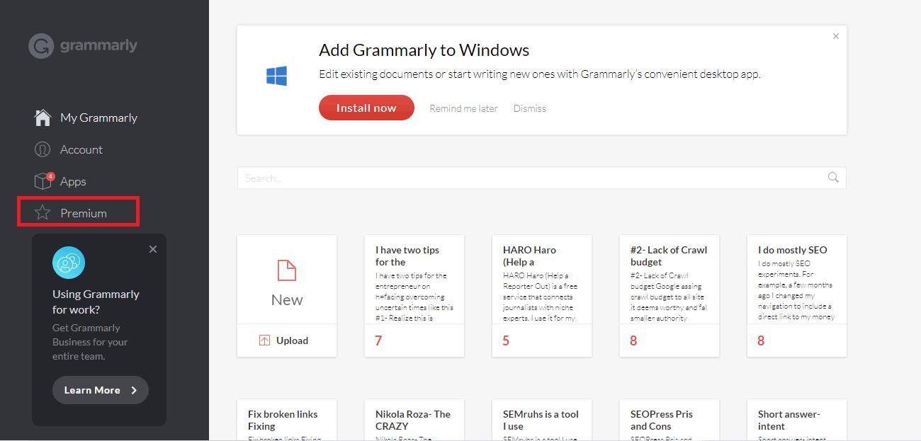 Upgrade to Grammarly Premium